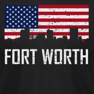 Fort Worth Texas Skyline American Flag Distressed - Men's T-Shirt by American Apparel