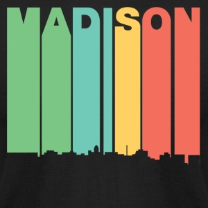 Retro 1970's Style Madison Wisconsin Skyline - Men's T-Shirt by American Apparel