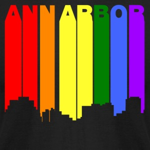 Ann Arbor Michigan Gay Pride Rainbow Skyline - Men's T-Shirt by American Apparel