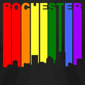 Rochester New York Gay Pride Rainbow Skyline - Men's T-Shirt by American Apparel
