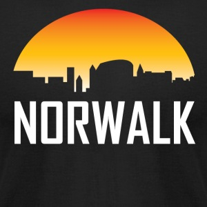 Norwalk Connecticut Sunset Skyline - Men's T-Shirt by American Apparel