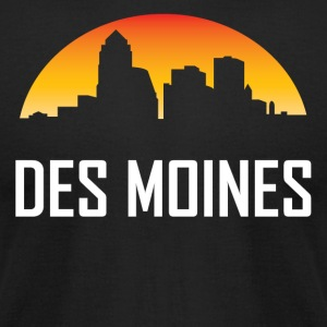 Des Moines Iowa Sunset Skyline - Men's T-Shirt by American Apparel
