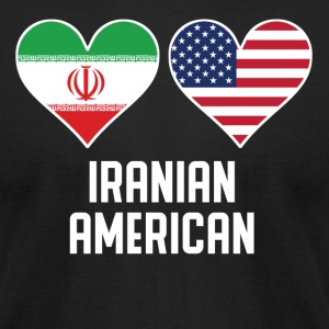 Iranian American Heart Flags - Men's T-Shirt by American Apparel