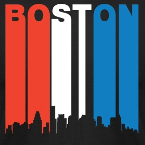 Red White And Blue Boston Massachusetts Skyline - Men's T-Shirt by American Apparel