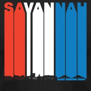 Red White And Blue Savannah Georgia Skyline - Men's T-Shirt by American Apparel