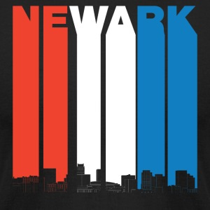 Red White And Blue Newark New Jersey Skyline - Men's T-Shirt by American Apparel