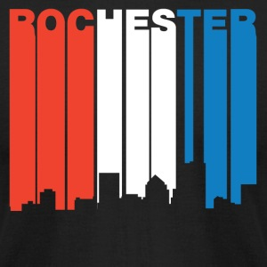 Red White And Blue Rochester New York Skyline - Men's T-Shirt by American Apparel