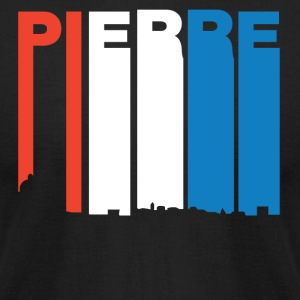 Red White And Blue Pierre South Dakota Skyline - Men's T-Shirt by American Apparel