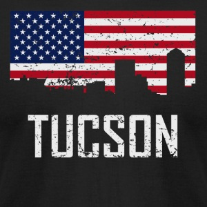 Tucson Arizona Skyline American Flag Distressed - Men's T-Shirt by American Apparel