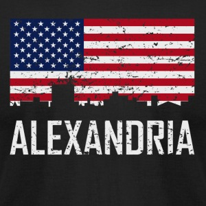 Alexandria Louisiana Skyline American Flag - Men's T-Shirt by American Apparel
