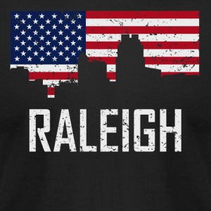 Raleigh North Carolina Skyline American Flag - Men's T-Shirt by American Apparel