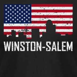 Winston-Salem NC Skyline American Flag Distressed - Men's T-Shirt by American Apparel