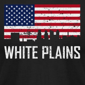 White Plains New York Skyline American Flag - Men's T-Shirt by American Apparel