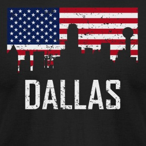 Dallas Texas Skyline American Flag Distressed - Men's T-Shirt by American Apparel