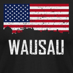 Wausau Wisconsin Skyline American Flag Distressed - Men's T-Shirt by American Apparel