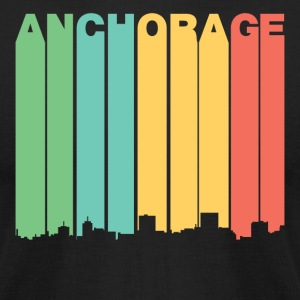 Retro 1970's Style Anchorage Alaska Skyline - Men's T-Shirt by American Apparel