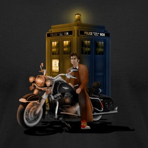 Phone Booth and Big Motorcycle - Men's T-Shirt by American Apparel
