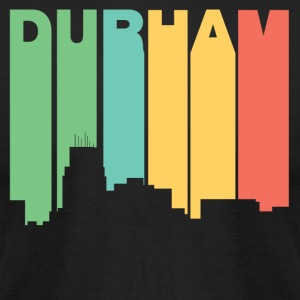 Retro 1970's Style Durham North Carolina Skyline - Men's T-Shirt by American Apparel