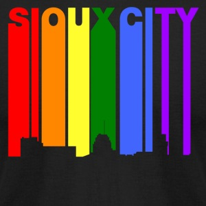 Sioux City Iowa Gay Pride Rainbow Skyline - Men's T-Shirt by American Apparel