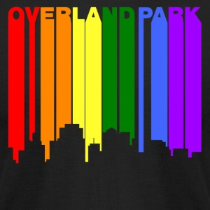 Overland Park Kansas Gay Pride Rainbow Skyline - Men's T-Shirt by American Apparel
