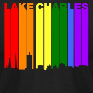 Lake Charles Louisiana Gay Pride Rainbow Skyline - Men's T-Shirt by American Apparel