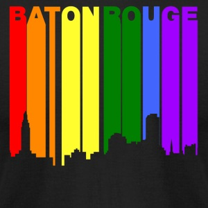 Baton Rouge Louisiana Gay Pride Rainbow Skyline - Men's T-Shirt by American Apparel