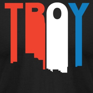 Red White And Blue Troy Michigan Skyline - Men's T-Shirt by American Apparel
