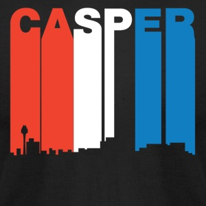 Red White And Blue Casper Wyoming Skyline - Men's T-Shirt by American Apparel
