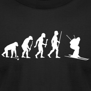 Skiing - Evolution of Man and Skiing - Men's T-Shirt by American Apparel