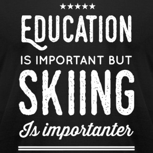 Skiing - Education Is Important But Skiing Is Im - Men's T-Shirt by American Apparel