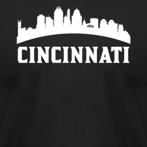 Vintage Style Skyline Of Cincinnati OH - Men's T-Shirt by American Apparel