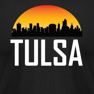 Sunset Skyline Silhouette of Tulsa OK - Men's T-Shirt by American Apparel