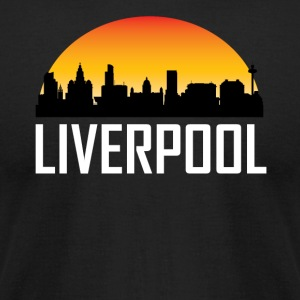 Sunset Skyline Silhouette of Liverpool England - Men's T-Shirt by American Apparel