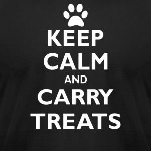Keep Calm And Carry Treats Funny Dog Training Trai - Men's T-Shirt by American Apparel