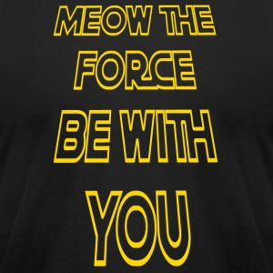 Meow The Force Be With You/ Yellow Outline - Men's T-Shirt by American Apparel