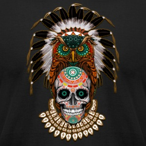 indian native Owl sugar Skull - Men's T-Shirt by American Apparel