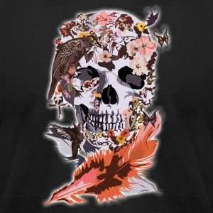 Birds, butterfly and Sugar Skull - Men's T-Shirt by American Apparel