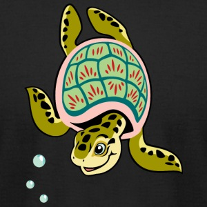 Turtle reptile swims smiling wildlife - Men's T-Shirt by American Apparel