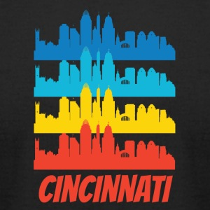 Retro Cincinnati OH Skyline Pop Art - Men's T-Shirt by American Apparel