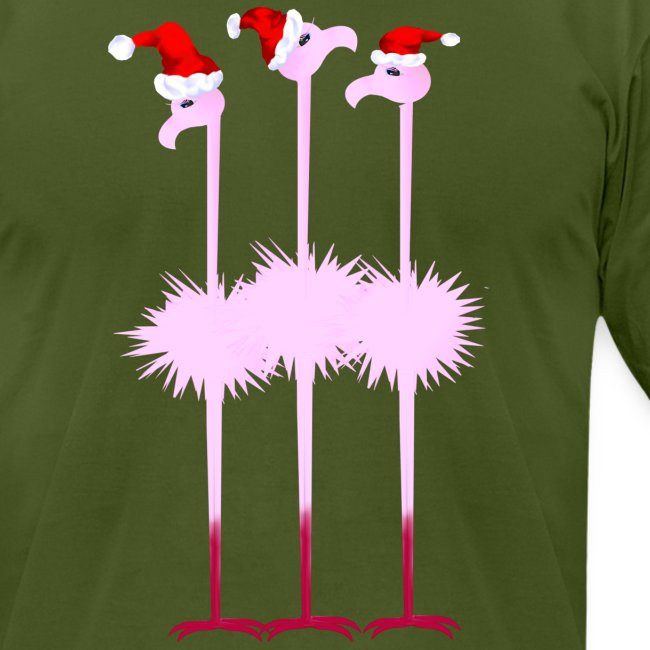 Three Christmas Flamingos