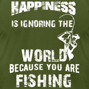 Funny Fishing T-Shirt |HAPPINESS FISHING - Men's T-Shirt by American Apparel