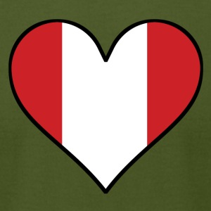 Peruvian Flag Heart - Men's T-Shirt by American Apparel