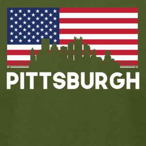 Pittsburgh PA American Flag Skyline - Men's T-Shirt by American Apparel