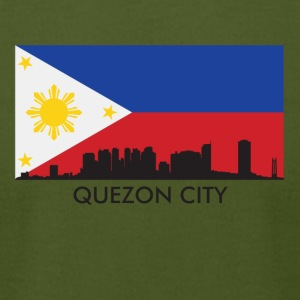 Quezon City Philippines Skyline Filipino Flag - Men's T-Shirt by American Apparel