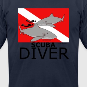 Scuba Divers with Sharks - Men's T-Shirt by American Apparel