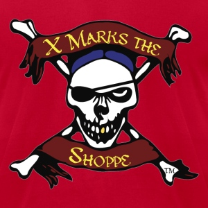 X Marks the Shoppe, Skull and Crossbones logo - Men's T-Shirt by American Apparel