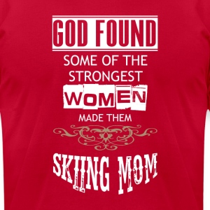 God found some of the Strongest Women Skiing Mom - Men's T-Shirt by American Apparel