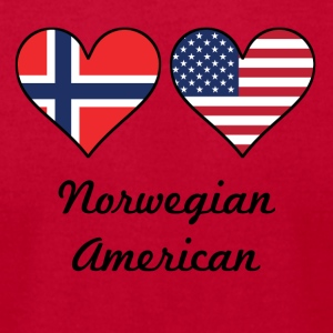 Norwegian American Flag Hearts - Men's T-Shirt by American Apparel