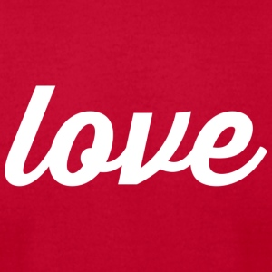 Love - Cursive Design (White Letters) - Men's T-Shirt by American Apparel