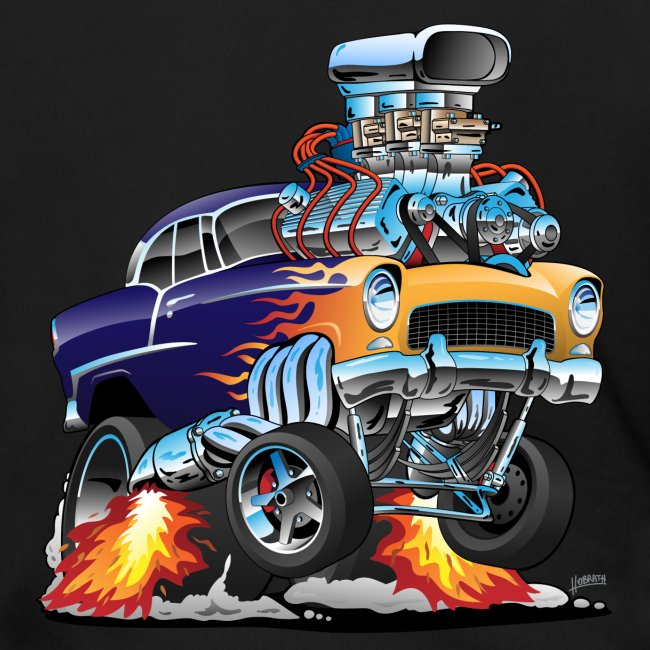Classic Fifties Hot Rod Muscle Car Cartoon